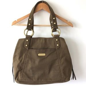 HP KENNETH COLE REACTION army green shoulder tote
